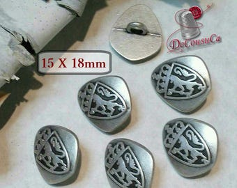 6 buttons, medieval, 15mm X 18mm,, Lion, Coat, of, Arms, lion coat, vintage,