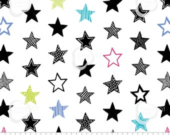 Star, white, Mod Blocks, 27180103, col 01, Camelot Fabrics, 100% Cotton, quilt cotton, (Reg 2.99 - 17.99)