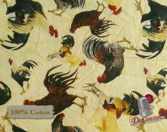 Rustic Roosters, 3 Wishes Fabric, multiple quantity cut in 1 piece, 100% Cotton, (Reg 3.99 -17.99)