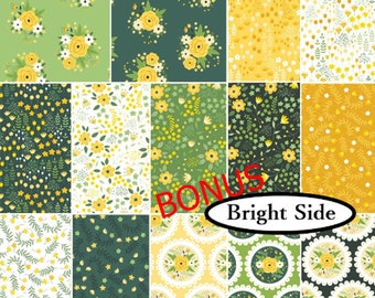 Bundle, 14 FQ, or 14 X 1/4 yard, or 14 X 1/2 yard, 1 of each, Bright Side, Camelot Fabrics, cotton