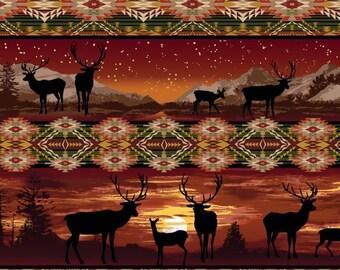 Stripe russet, Silhouette, Lodge Life, 8970, col 88, Benartex, cotton, cotton quilt, cotton designer