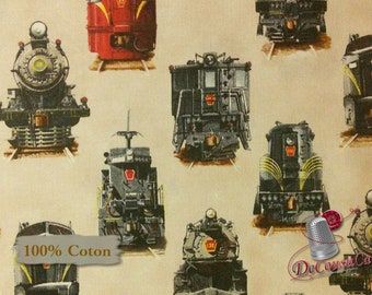 Train, Elizabeth's Studio, 8502, multiple quantity cut in one piece, 100% Cotton,