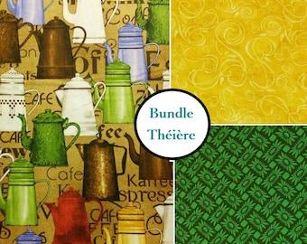 Kit 3 prints, Teapot, Quilting Treasures, Bundle, 1 of each print, 100% coton