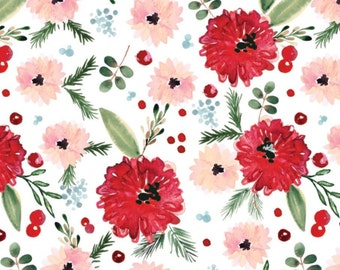 Winter Floral, white, 26180206J, col 02, Camelot Fabrics, 100% Cotton, (Reg 2.99-17.99)
