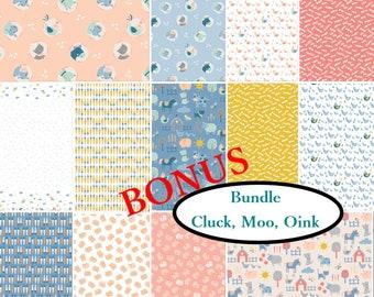 Bundle, 13 prints, Cluck, Moo, Oink, Camelot Fabrics, quilt cotton
