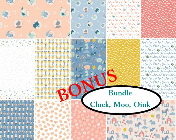 Featured listing image: Bundle, 13 prints, Cluck, Moo, Oink, Camelot Fabrics, quilt cotton