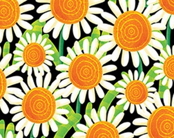 Sunflowers, black, BUSY BEES, 1415-99, Henry Glass & Co, 100% Cotton