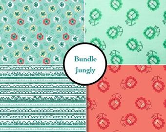 END OF BOLT, Bundle 4 prints, Jungly, Camelot Fabrics, multiple quantity cut in one piece, 100% Cotton