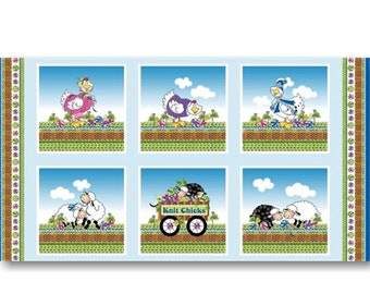 "Panel, Sheep, knit, 24"" X 44"", (60cm x 115cm),, Knit Chicks, 1450-11, Multiple quantity cut in one piece, 100% Cotton"