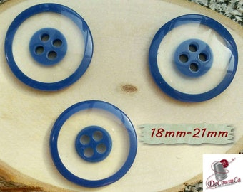 3 Buttons, 18mm, 21mm, transparent, blue, 4 holes, decorative, Vintage, 1970, GR07