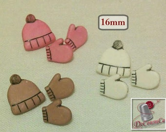 9 Boutons, 16mm, 5/8in, 3 Tuque and 6 mitten (12mm), decorative, resin, Vintage, BF49, (Reg 4.80)