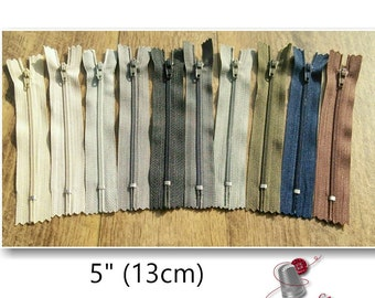 13cm, zipper, #3, 5 inchs, varied color, 13nylon, perfect for wallets, clothing, repair, creation, (Reg 1.20)