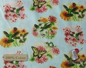 Colibri, butterfly, flower, blue, 4317, Elizabeth's Studio, 100% Cotton