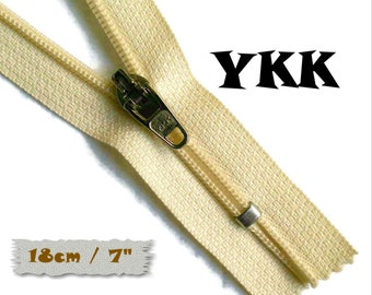 YKK, 18cm, Ivory, Zipper, curseur 45c, 7 inchs, Zipper sport, nylon, perfect for wallets, jeans, leather, Z05