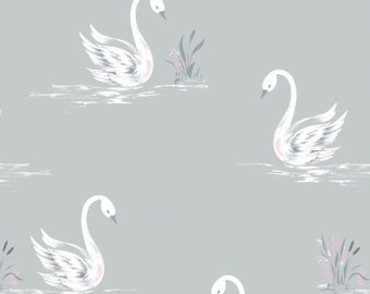 Swans, White, Grey, The Grace, Laura Ashley, 71170302, 01, Camelot Fabrics, cotton, cotton quilt, cotton designer