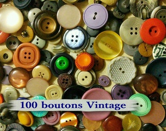 100 buttons, random, 14mm-30mm, casein, lucite, metal, photo example, random buttons, 1950-1980, BA104, (Reg 40.00-90.00)