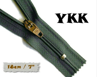 YKK, 18cm, Charcoal, Zipper, curseur 45c, 7 inchs, Zipper sport, nylon, perfect for wallets, jeans, leather, Z05