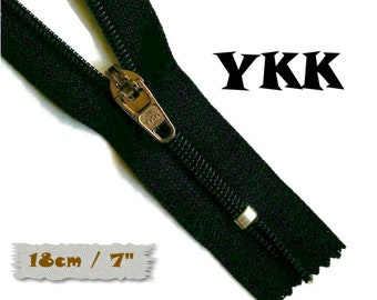 YKK, 18cm, Black, Zipper, curseur 45c, 7 inchs, Zipper sport, nylon, perfect for wallets, jeans, leather, Z05