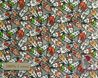 Feather, Woodland Tribe, 3 Wishes Fabric, multiple quantity cut in 1 piece, 100% Cotton, (Reg 3.99 -17.99)