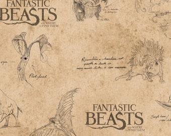 Harry Potter, Wizarding World, Fantastic Beast, 23900103, col 01, Camelot Fabrics, cotton, cotton quilt, cotton designer