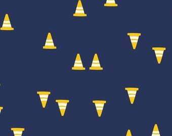 Construction cones, navy, 27190105, col 01, On the Move, Camelot Fabrics, cotton, cotton quilt, cotton designer