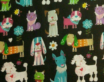 Dog, puppy, poodle, black, Édition Fabric, multiple quantity cut in one piece, 100% Cotton