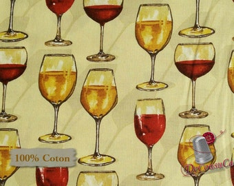 Glass of wine, Vintage, Mary Beth Baker, Henry Glass & Co, 1135, multiple quantity cut in 1 piece, 100% Cotton, (Reg 2.99 - 17.99)