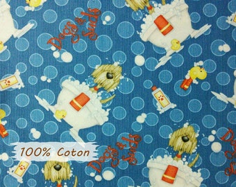 Dogs and Suds, Henry Glass & Co, multiple quantity cut in 1 piece, 100% Cotton