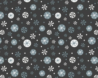 END OF BOLT, Snowflakes, carbon, 61170104, Oh What Fun, Camelot Fabrics, 100% Cotton