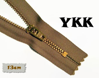YKK, 13cm, Zipper, Cursor 45U, Dark beige, 5 Inch, Metal, Zipper, Non-Detachable, vintage, 1980, Z07