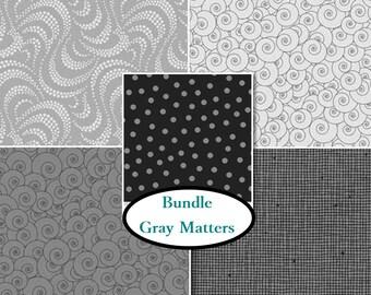 Bundle, 5 prints, Gray Matters, P & B textiles, quilt cotton, cotton designer, 100% cotton