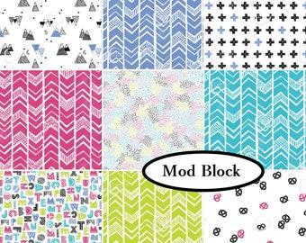 Bundle, 9 prints, Mod Blocks, Camelot Fabrics, 100% Cotton, quilt cotton