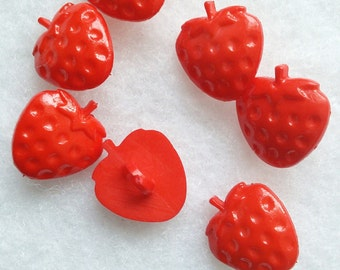 8 buttons, 14mm, Strawberry, red, vintage, BF42