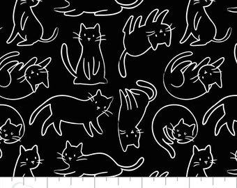 Cat, Meow, 21170101_2, Black, Camelot Fabrics, multiple quantity cut in one piece, 100% Cotton