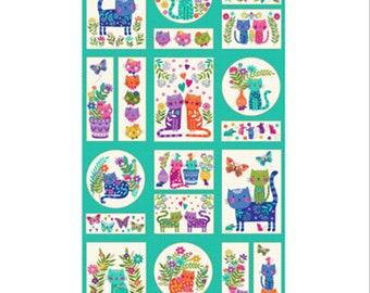 "Panel, Cats, 2352, Katie's Cat, Makower, 18""X44"", 10287, 100% Cotton, (Reg 11.01)"