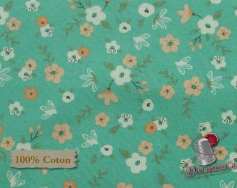 END OF BOLT, Flower, aqua, Nature, Édition Fabric, multiple quantity cut in one piece, 100% Cotton,