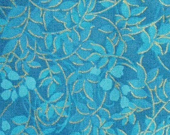 Leaves, blue, gold, LFD-765, cotton quilt, cotton designer