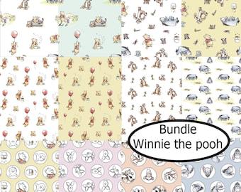 Bundle, 12  designs, Winnie the Pooh, Camelot Fabrics, 100% cotton