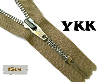 YKK, 15cm, Beige, Zipper, Cursor V, 6 Inch, Metal, Zipper, Non-Detachable, vintage, 1980, Z16