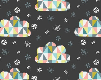 Triangle, clouds, carbon, 61170103, Oh What Fun, Camelot Fabrics, multiple quantity cut in one piece, 100% Cotton, (Reg 2.99-17.99)