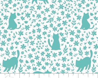 Cat, turquoise, white,  21170107, col 3, Camelot Fabrics, 100% Cotton