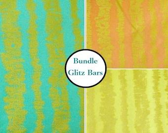 3 prints, Glitz Bars, Michael Miller, Bundle, 1 of each print, 100% coton