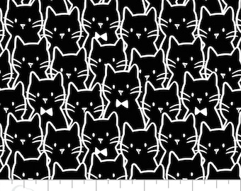 Cat, 21170104, col 2, Black, white, Camelot Fabrics, multiple quantity cut in one piece, 100% Cotton