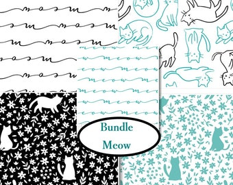 5 FQ, or 5 X 1/4 yard, 1 of each, Meow, Camelot Fabrics, 100% cotton, (Reg 19.95 - 79.95)
