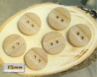 "6 buttons, 15mm, 5/8"",  Natural, imitation rock, horn, casein, vintage, 1970, basic button, sound button, BA60"