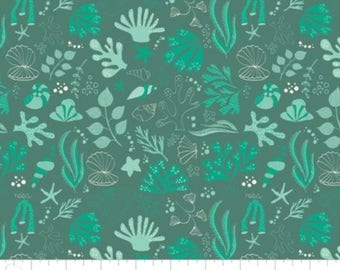 Under the sea, Sea creatures,teal, 6141603, col 03, Camelot Fabrics, multiple quantity cut in one piece, 100% Cotton, (Reg 3.99 - 17.99)