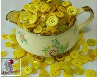 12 kits de 6 buttons, 1970-2000, yellow, corn, 2 holes, 4 holes, 6 buttons by model, 72 buttons, BA24