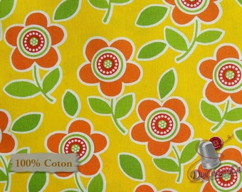 Orange flower, yellow, 6772, Are we there yet? Henry Glass & Co, 100% Cotton, (Reg 2.99-17.99)