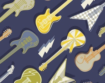 Guitar, music, Rock'n Roll, Rock On, 21200301, col 01, Camelot Fabrics, 100% Cotton, quilt cotton, designer cotton