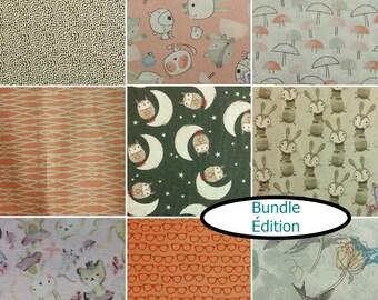 9 prints, 9 FQ, 1/4 yard, 1/2 yard, 1 of each, Édition Fabrics, 100% cotton,